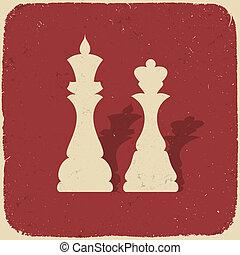 rei, queen., ilustração, eps10., fundo, vetorial, retro, xadrez