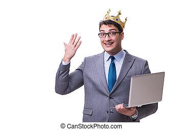 rei, segurando, laptop, isolado, fundo, homem negócios, branca