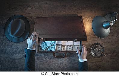 reich, geschäftsmann, mit, dollar, verpackt