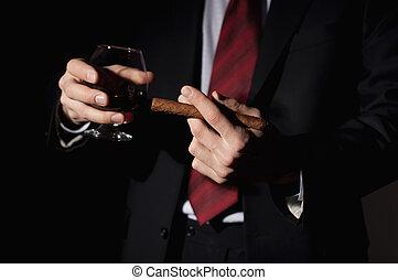 reich, zigarre, hält, person, whisky