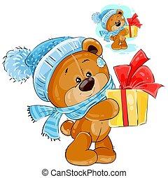 reichend, box., geschenk, teddy, kappe, bär, gestrickt, vektor, schal