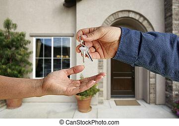 reichend, schlüssel, haus, aus, neu , front, daheim