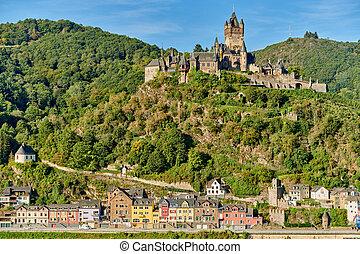reichsburg, moselle, ville, allemagne, château, cochem, rivière