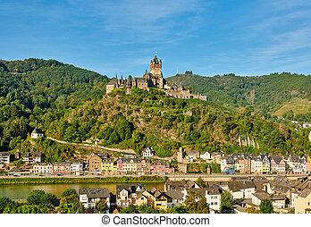 reichsburg, moselle, ville, allemagne, rivière, château, cochem