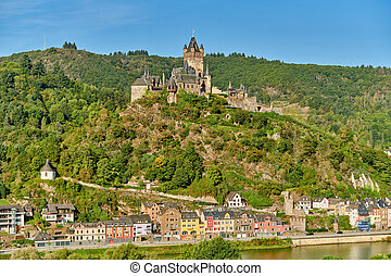 reichsburg, rivière, ville, cochem, moselle, allemagne, château