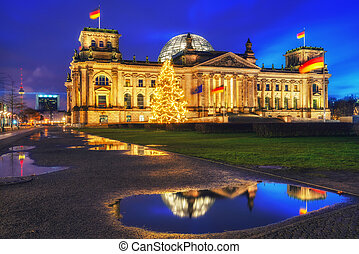 Reichstag and christmas tree in Berlin