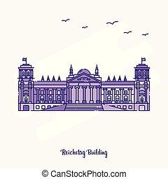 REICHSTAG BUILDING Landmark Purple Dotted Line skyline vector illustration