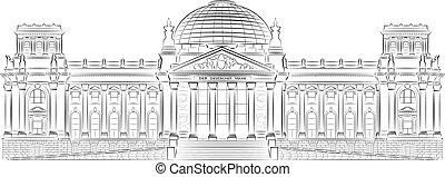 Reichstag building stylized illustr