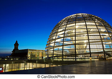 Reichstag Dome - Glass Reichstag Dome by night, Berlin
