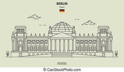 reichstag, en, berlín, germany., señal, icono