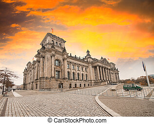 Reichstag in Berlin. Ancient buidling as seen from the...
