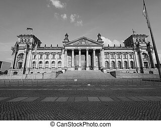 Reichstag parliament in Berlin in black and white