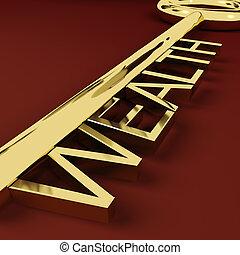reichtum, goldschatz, reichtümer, schlüssel, darstellen