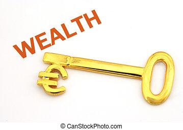 reichtum, schlüssel, euro