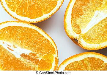reif, freigestellt, saftig, vier, hintergrund, hälfte, orange, weißes