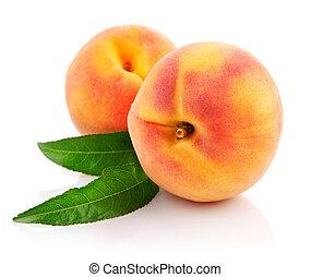 reif, pfirsich, früchte, mit, grüne blätter