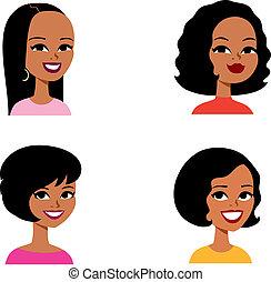 reihe, avatar, karikatur, frau, afrikanisch