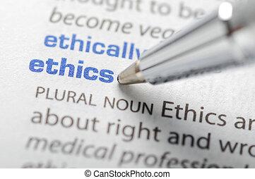 reihe, ethik, -, wörterbuch