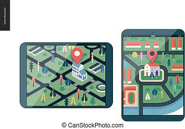 reihe, -, geschaeftswelt, landkarte