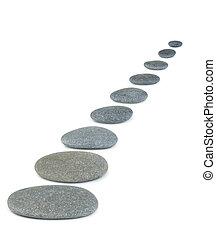 reihe, pebbles., meer, stones., ihm, gleichfalls, freigestellt, auf, a, weißer hintergrund