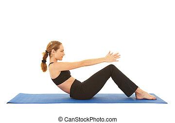 reihe, pilates, übung