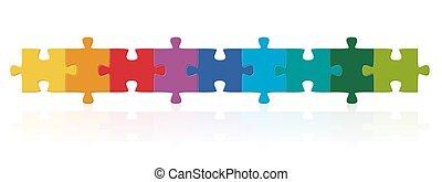 reihe, puzzel, gefärbt, stücke