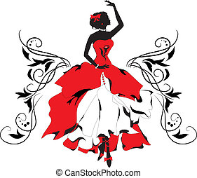 reihe, silhouette, isabelle, woman., grafik