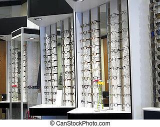 reihe, von, brille, an, ein, optiker