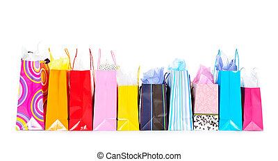 reihe, von, einkaufstüten