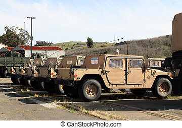 reihe, von, militärische fahrzeuge