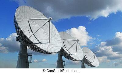 reihe, von, satelliten teller