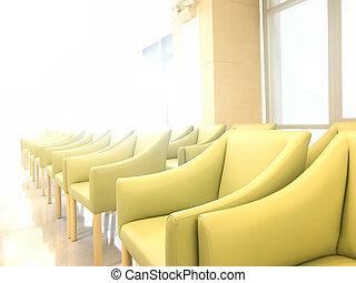 reihe, von, troesten, grünes sofa, in, warten bereich, von, gang, von, klinikum, oder, geschäftsstelle, unter, sonne- licht, von, fenster
