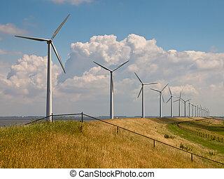 Reihe, Von, Windkraftwerke, Mit, Zaun