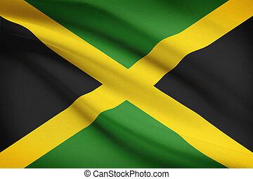 reihe, von, zerzaust, flags., jamaica.