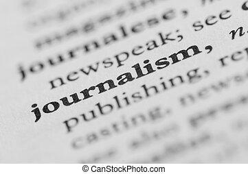 reihe, wörterbuch, -, journalismus