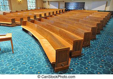 reihen, synagoge, kirchenstühle
