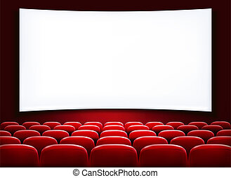 reihen, theater, kino, sitze, scre, leer, front, weißes, ...