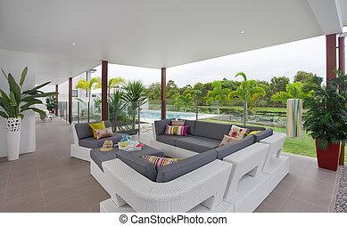 reihenhaus, draußen, modern, terrasse