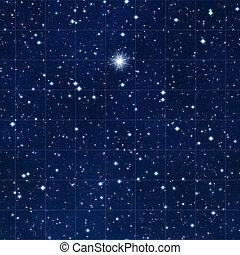 reik voor, de, sterretjes, met, heldere ster