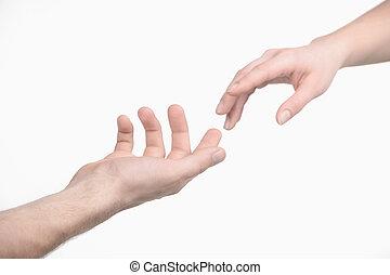 reiken, een, hand., close-up, van, menselijke handen, het...