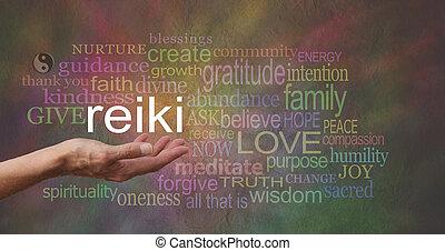 reiki, em, a, palma, de, seu, mão