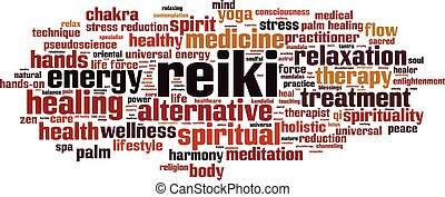 Reiki-horizon - Reiki word cloud concept. Vector ...