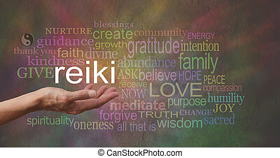 Reiki in the palm of your hand - Female hand outstretched...