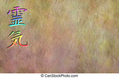 Grunge parchment background with a rainbow colored Reiki Kanji symbol on the left side