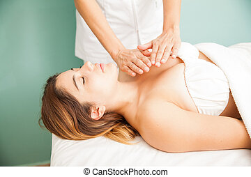 Reiki therapy at a health spa