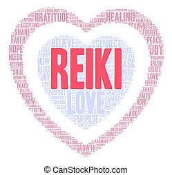 Reiki Word Cloud - Reiki word cloud on a white background.