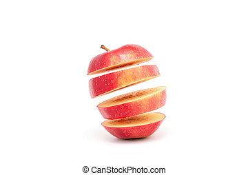 Reilf, rotes Apfel - reif, rotes, Apfel, wei?es, hintergrund