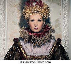 reina, arrogante, vestido, real