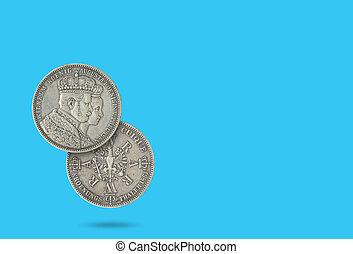 reina, plata, 1861., prusiano, wilhelm, rey, augusta, coronación, moneda