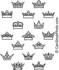 reina, rey, heráldico, conjunto, coronas